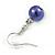10mm Deep Purple Glass Bead Necklace, Flex Bracelet & Drop Earrings Set In Silver Plating - 42cm L/ 5cm Ext - view 11