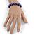 10mm Deep Purple Glass Bead Necklace, Flex Bracelet & Drop Earrings Set In Silver Plating - 42cm L/ 5cm Ext - view 4