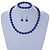 10mm Deep Purple Glass Bead Necklace, Flex Bracelet & Drop Earrings Set In Silver Plating - 42cm L/ 5cm Ext - view 2