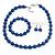 10mm Navy Blue Glass Bead Necklace, Flex Bracelet & Drop Earrings Set In Silver Plating - 42cm L/ 5cm Ext
