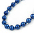 10mm Navy Blue Glass Bead Necklace, Flex Bracelet & Drop Earrings Set In Silver Plating - 42cm L/ 5cm Ext - view 5