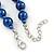 10mm Navy Blue Glass Bead Necklace, Flex Bracelet & Drop Earrings Set In Silver Plating - 42cm L/ 5cm Ext - view 6