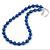 10mm Navy Blue Glass Bead Necklace, Flex Bracelet & Drop Earrings Set In Silver Plating - 42cm L/ 5cm Ext - view 8