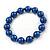 10mm Navy Blue Glass Bead Necklace, Flex Bracelet & Drop Earrings Set In Silver Plating - 42cm L/ 5cm Ext - view 9