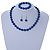 10mm Navy Blue Glass Bead Necklace, Flex Bracelet & Drop Earrings Set In Silver Plating - 42cm L/ 5cm Ext - view 2