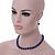 10mm Navy Blue Glass Bead Necklace, Flex Bracelet & Drop Earrings Set In Silver Plating - 42cm L/ 5cm Ext - view 3