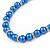 5mm, 7mm Electric Blue Glass/Crystal Bead Necklace, Flex Bracelet & Drop Earrings Set In Silver Plating - 42cm L/ 5cm Ext - view 4