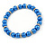 5mm, 7mm Electric Blue Glass/Crystal Bead Necklace, Flex Bracelet & Drop Earrings Set In Silver Plating - 42cm L/ 5cm Ext - view 8