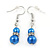 5mm, 7mm Electric Blue Glass/Crystal Bead Necklace, Flex Bracelet & Drop Earrings Set In Silver Plating - 42cm L/ 5cm Ext - view 9