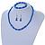 5mm, 7mm Electric Blue Glass/Crystal Bead Necklace, Flex Bracelet & Drop Earrings Set In Silver Plating - 42cm L/ 5cm Ext - view 2