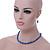 5mm, 7mm Electric Blue Glass/Crystal Bead Necklace, Flex Bracelet & Drop Earrings Set In Silver Plating - 42cm L/ 5cm Ext - view 3