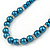 5mm, 7mm Teal Glass/Crystal Bead Necklace, Flex Bracelet & Drop Earrings Set In Silver Plating - 42cm L/ 5cm Ext - view 4