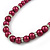 6mm, 8mm Cranberry Red Glass/ Crystal Bead Necklace, Flex Bracelet & Drop Earrings Set In Silver Plating - 42cm L/ 5cm Ext - view 5