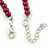 6mm, 8mm Cranberry Red Glass/ Crystal Bead Necklace, Flex Bracelet & Drop Earrings Set In Silver Plating - 42cm L/ 5cm Ext - view 6