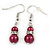 6mm, 8mm Cranberry Red Glass/ Crystal Bead Necklace, Flex Bracelet & Drop Earrings Set In Silver Plating - 42cm L/ 5cm Ext - view 7