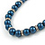 6mm, 8mm Inky Blue Glass/ Crystal Bead Necklace, Flex Bracelet & Drop Earrings Set In Silver Plating - 42cm L/ 5cm Ext - view 5