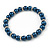6mm, 8mm Inky Blue Glass/ Crystal Bead Necklace, Flex Bracelet & Drop Earrings Set In Silver Plating - 42cm L/ 5cm Ext - view 9