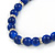 5mm, 7mm Royal Blue Ceramic/ Crystal Bead Necklace, Flex Bracelet & Drop Earrings Set In Silver Plating - 42cm L/ 5cm Ext - view 6