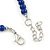 5mm, 7mm Royal Blue Ceramic/ Crystal Bead Necklace, Flex Bracelet & Drop Earrings Set In Silver Plating - 42cm L/ 5cm Ext - view 7