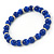 5mm, 7mm Royal Blue Ceramic/ Crystal Bead Necklace, Flex Bracelet & Drop Earrings Set In Silver Plating - 42cm L/ 5cm Ext - view 8
