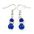 5mm, 7mm Royal Blue Ceramic/ Crystal Bead Necklace, Flex Bracelet & Drop Earrings Set In Silver Plating - 42cm L/ 5cm Ext - view 9