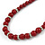 6mm/ 8mm Dark Red Ceramic Bead Necklace, Flex Bracelet & Drop Earrings With Crystal Ring Set In Silver Tone - 43cm L/ 5cm Ext - view 6