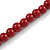 6mm/ 8mm Dark Red Ceramic Bead Necklace, Flex Bracelet & Drop Earrings With Crystal Ring Set In Silver Tone - 43cm L/ 5cm Ext - view 9