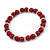 6mm/ 8mm Dark Red Ceramic Bead Necklace, Flex Bracelet & Drop Earrings With Crystal Ring Set In Silver Tone - 43cm L/ 5cm Ext - view 7