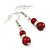 6mm/ 8mm Dark Red Ceramic Bead Necklace, Flex Bracelet & Drop Earrings With Crystal Ring Set In Silver Tone - 43cm L/ 5cm Ext - view 8