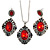 Victorian Inspired Ruby Red/ Dark Blue Crystal Filigree Pendant with Silver Tone Snake Chain and Drop Earrings In Aged Silver Tone Metal - 40cm L/ 4cm