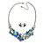 Romantic Blue Glass, Enamel, Crystal Butterfly Cluster Necklace and Stud Earrings Set In Rhodium Plating - 42cm L/ 7cm Ext - view 5