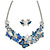 Romantic Blue Glass, Enamel, Crystal Butterfly Cluster Necklace and Stud Earrings Set In Rhodium Plating - 42cm L/ 7cm Ext
