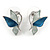 Romantic Blue Glass, Enamel, Crystal Butterfly Cluster Necklace and Stud Earrings Set In Rhodium Plating - 42cm L/ 7cm Ext - view 9