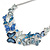 Romantic Blue Glass, Enamel, Crystal Butterfly Cluster Necklace and Stud Earrings Set In Rhodium Plating - 42cm L/ 7cm Ext - view 10