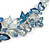 Romantic Blue Glass, Enamel, Crystal Butterfly Cluster Necklace and Stud Earrings Set In Rhodium Plating - 42cm L/ 7cm Ext - view 4