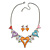 Romantic Multicoloured Glass, Crystal Multi Heart Necklace and Drop Earrings Set In Rhodium Plating - 40cm L/ 8cm Ext - view 10