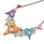 Romantic Multicoloured Glass, Crystal Multi Heart Necklace and Drop Earrings Set In Rhodium Plating - 40cm L/ 8cm Ext - view 11