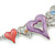 Romantic Multicoloured Glass, Crystal Multi Heart Necklace and Drop Earrings Set In Rhodium Plating - 40cm L/ 8cm Ext - view 12