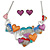 Romantic Multicoloured Glass, Enamel Multi Heart Necklace and Stud Earrings Set In Rhodium Plating - 40cm L/ 8cm Ext