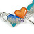 Romantic Multicoloured Glass, Enamel Multi Heart Necklace and Stud Earrings Set In Rhodium Plating - 40cm L/ 8cm Ext - view 11