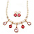 Bridal/ Wedding/ Prom Cream Faux Pearl, Pink/ Clear Crystal Necklace and Stud Earrings Set In Rose Gold Tone - 42cm L/ 9cm Ext - Gift Boxed