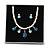 Bridal/ Wedding/ Prom White Faux Pearl, Blue/ Clear Crystal Necklace and Stud Earrings Set In Silver Tone - 42cm L/ 9cm Ext - Gift Boxed - view 4