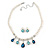 Bridal/ Wedding/ Prom White Faux Pearl, Blue/ Clear Crystal Necklace and Stud Earrings Set In Silver Tone - 42cm L/ 9cm Ext - Gift Boxed - view 7