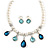 Bridal/ Wedding/ Prom White Faux Pearl, Blue/ Clear Crystal Necklace and Stud Earrings Set In Silver Tone - 42cm L/ 9cm Ext - Gift Boxed