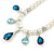 Bridal/ Wedding/ Prom White Faux Pearl, Blue/ Clear Crystal Necklace and Stud Earrings Set In Silver Tone - 42cm L/ 9cm Ext - Gift Boxed - view 11
