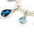 Bridal/ Wedding/ Prom White Faux Pearl, Blue/ Clear Crystal Necklace and Stud Earrings Set In Silver Tone - 42cm L/ 9cm Ext - Gift Boxed - view 5