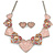 Romantic Crystal Multi Heart Necklace and Stud Earrings Set In Rhodium Plating (Pink) - 40cm L/ 8cm Ext - Gift Boxed
