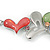 Multicoloured Glass Heart Necklace and Drop Earrings Set In Silver Tone - 42cm L/ 7cm Ext - view 12