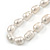 12mm Classic White Oval Ringed Freshwater Pearl Bead Necklace, Bracelet and Drop Earrings Set In Silver Tone - 41cm L Necklace/ 17cm L Bracelet - view 6