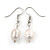 12mm Classic White Oval Ringed Freshwater Pearl Bead Necklace, Bracelet and Drop Earrings Set In Silver Tone - 41cm L Necklace/ 17cm L Bracelet - view 4